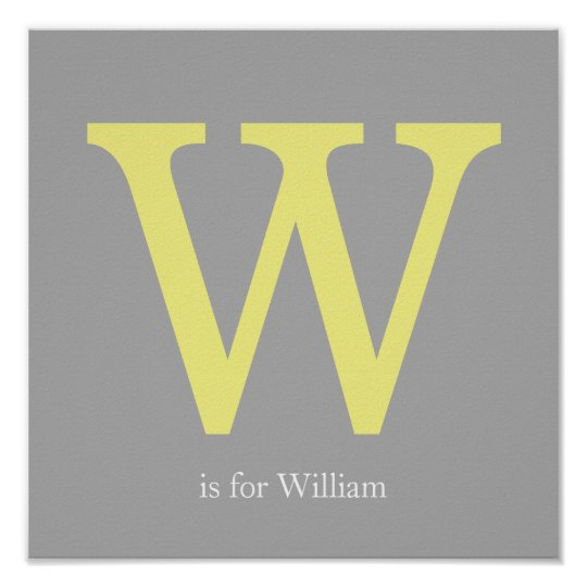 Yellow and Grey Monogram Poster