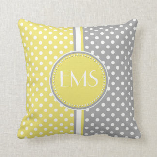 Yellow and Grey Polka Dot Monogram Pillow