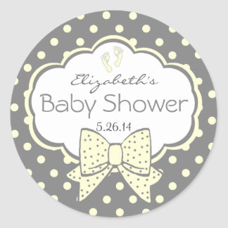 Yellow and Grey Polka Dots-Baby Shower Round Sticker