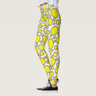 Yellow and Grey Polka Dots Leggings