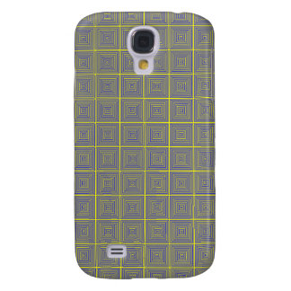 Yellow and Grey repating square pattern Samsung Galaxy S4 Cases