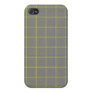 Yellow and Grey repating square pattern Case For iPhone 4