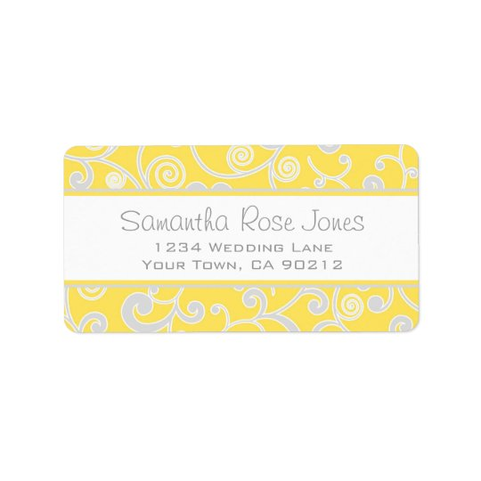 Yellow and Grey Scroll Custom Address Label
