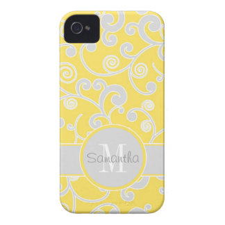 Yellow and Grey Scroll Design Custom Monogram iPhone 4 Cases