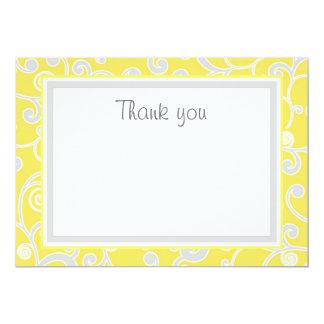 Yellow and Grey Scroll Flat Thank You Card 13 Cm X 18 Cm Invitation Card
