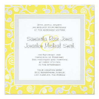 Yellow and Grey Scroll Square Wedding Invitation