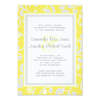 Yellow and Grey Scroll Wedding Invitation