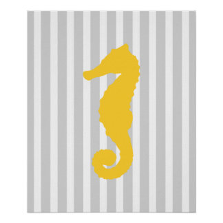 Yellow and Grey Striped Nautical Seahorse Posters