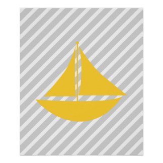 Yellow and Grey Striped Nautical Ship Print