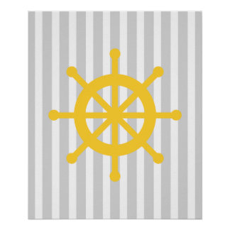 Yellow and Grey Striped Nautical Ship Wheel Poster
