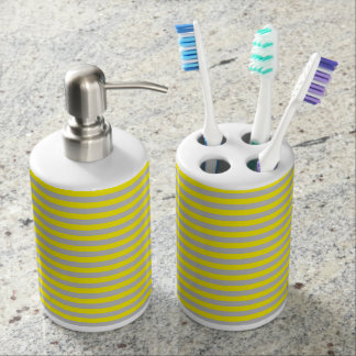 Yellow and Grey Stripes Soap Dispenser And Toothbrush Holder
