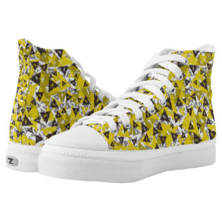 Yellow And Grey Triangle High Tops