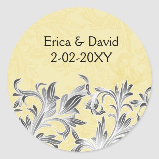 Yellow and Grey Vintage Flourish Wedding Classic Round