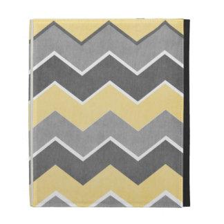 Yellow and Grey Zig Zag Pattern iPad Case