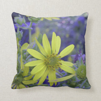 Yellow and Lavender Floral Pillow