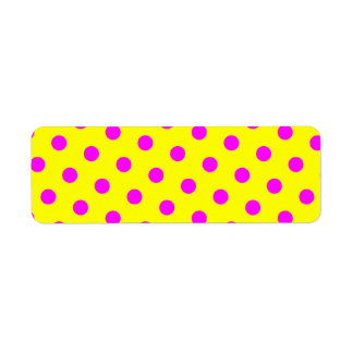 Yellow and Magenta Polka Dots Return Address Label