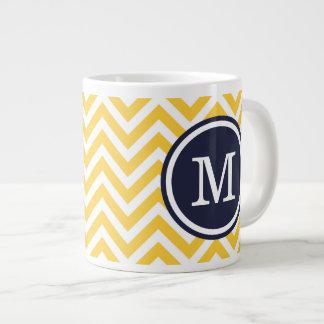 Yellow and Navy Blue Chevron Custom Monogram Large Coffee Mug