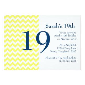 Yellow and Navy Chevron Birthday Invitation