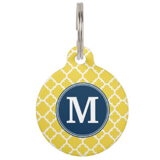 Yellow and Navy Quatrefoil Pattern Custom Monogram Pet Name Tag