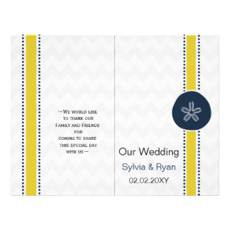 Yellow and Navy Sand Dollar Beach Wedding Design 21.5 Cm X 28 Cm Flyer