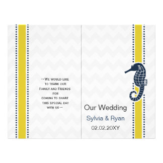 Yellow and Navy SeaHorse Beach Wedding Stationery 21.5 Cm X 28 Cm Flyer
