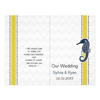 Yellow and Navy SeaHorse Beach Wedding Stationery 21.5 Cm X 28 Cm Flyer