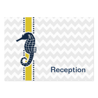 Yellow and Navy SeaHorse Beach Wedding Stationery Pack Of Chubby Business Cards