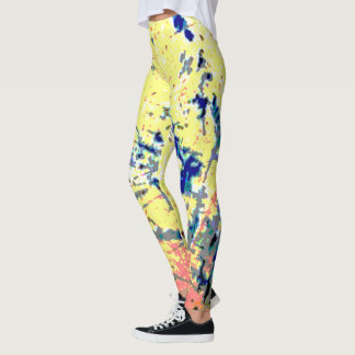 Yellow and Navy Spotted and Slashed Leggings