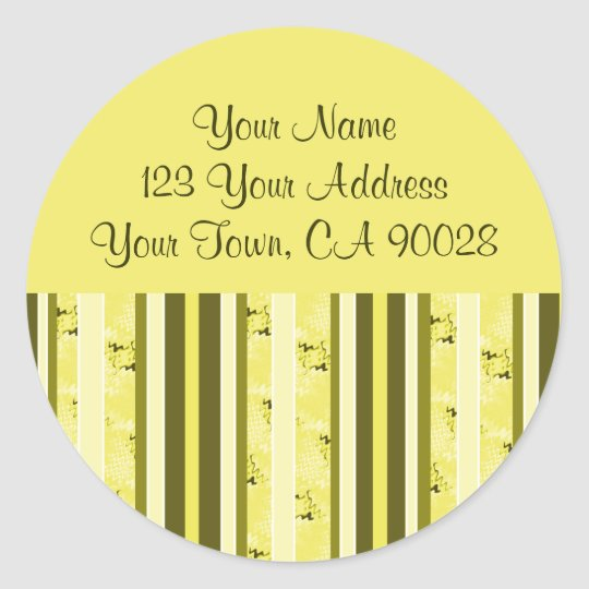 Yellow and Olive Green Address Labels Round Sticker