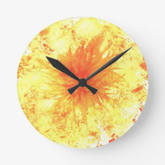 Yellow and Orange Abstract Art Watercolour Flower Round Clock