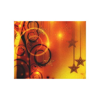 Yellow and Orange Abstract Design Stars Spirals Gallery Wrap Canvas