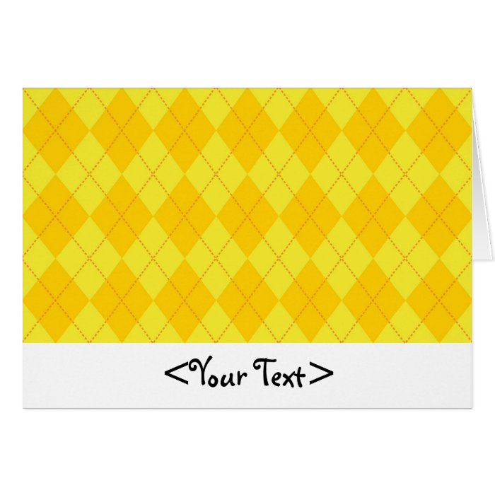 Yellow and Orange Argyle Pattern Note Card