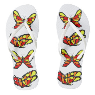 Yellow and orange butterflys flip flops