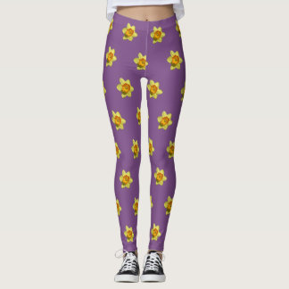 Yellow and Orange Daffodils Pattern Legging