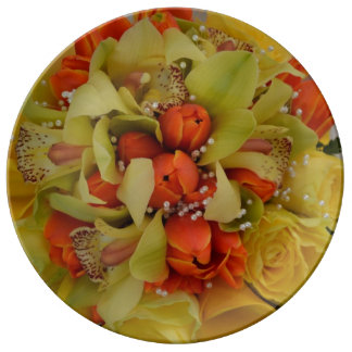 Yellow and orange floral print plate