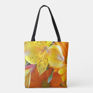Yellow and orange flower tote bag