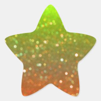 Yellow And Orange Glitz Star Shaped Stickers