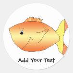 Yellow and Orange Goldfish Round Sticker