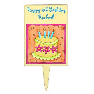 Yellow and Orange Happy Birthday Cake Pick