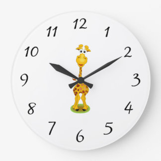Yellow and orange happy cartoon giraffe large clock