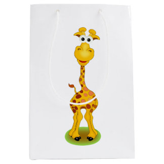 Yellow and orange happy cartoon giraffe medium gift bag