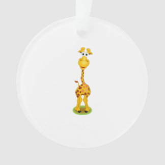 Yellow and orange happy cartoon giraffe ornament