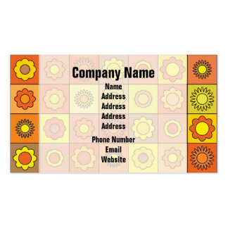Yellow and Orange Hippie Flower Pattern Business Cards