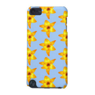 Yellow and Orange Lily Flowers on Blue. Pattern. iPod Touch (5th Generation) Cover