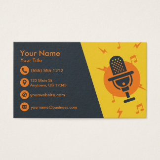 Yellow and Orange Microphone Business Card