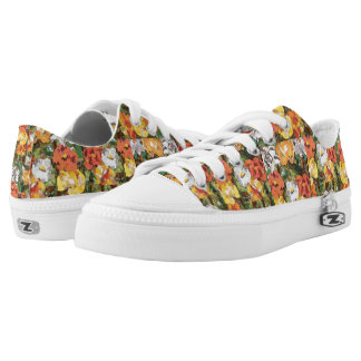 Yellow and orange paper flowers collage Low Tops Printed Shoes