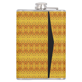 Yellow and orange pattern hip flask