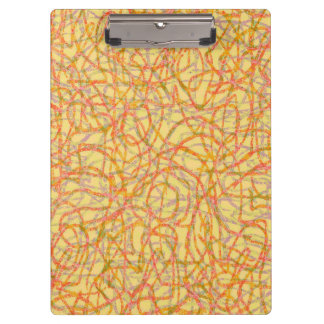 Yellow and orange scribbled lines pattern clipboard