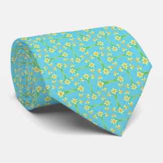 Yellow and Orange Spring Daffodils on Aqua Pattern Tie