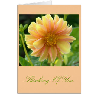 YELLOW AND PEACH-COLORED  DAHLIA NOTE CARD